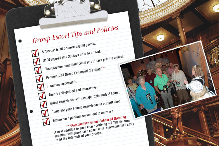 Titanic Pigeon Forge group escort tips and policies
