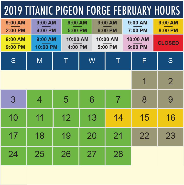 Titanic Pigeon Forge February 2019 hours