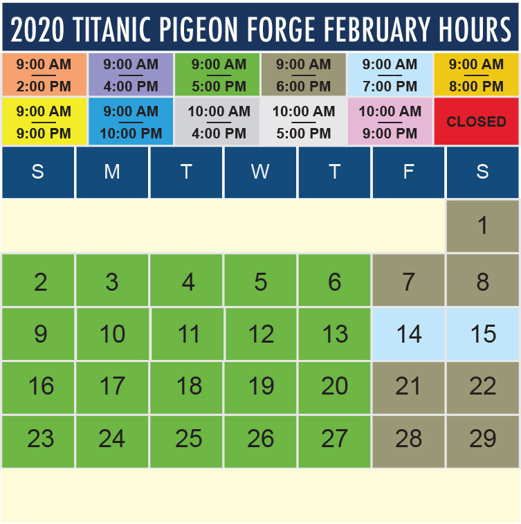 Titanic Pigeon Forge February 2020 hours