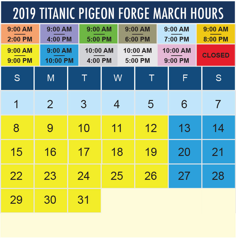 Titanic Pigeon Forge March 2020 hours