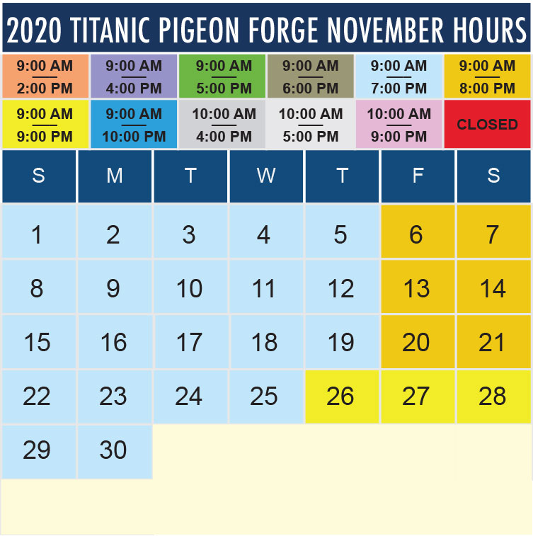 Titanic Pigeon Forge November 2020 hours