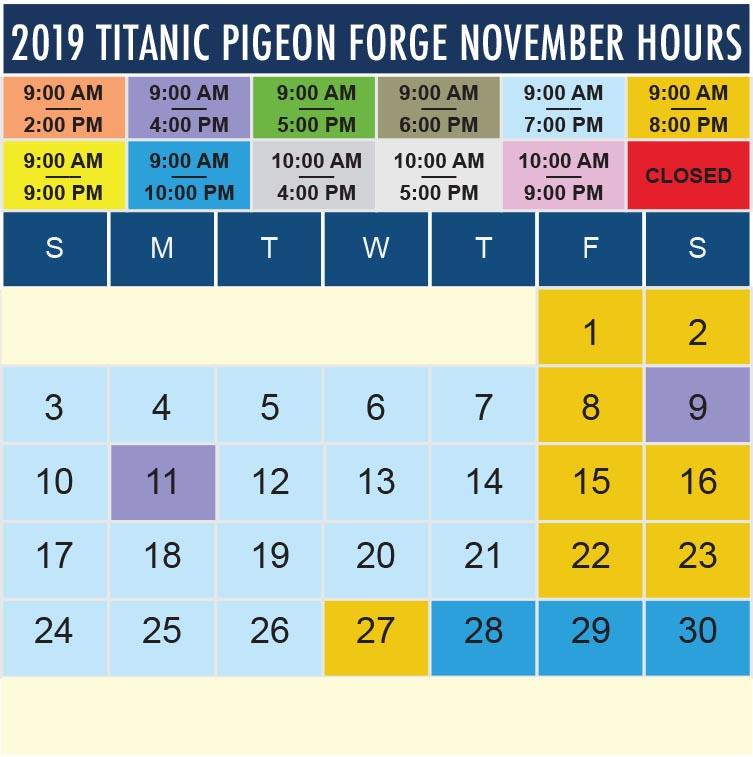 Titanic Pigeon Forge November 2019 hours