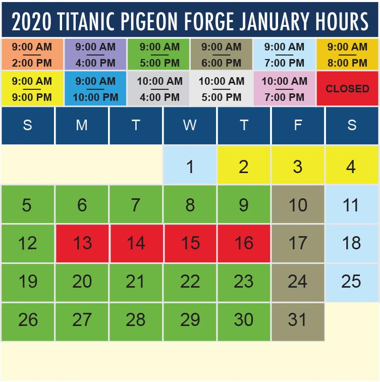 Titanic Pigeon Forge January 2020 hours