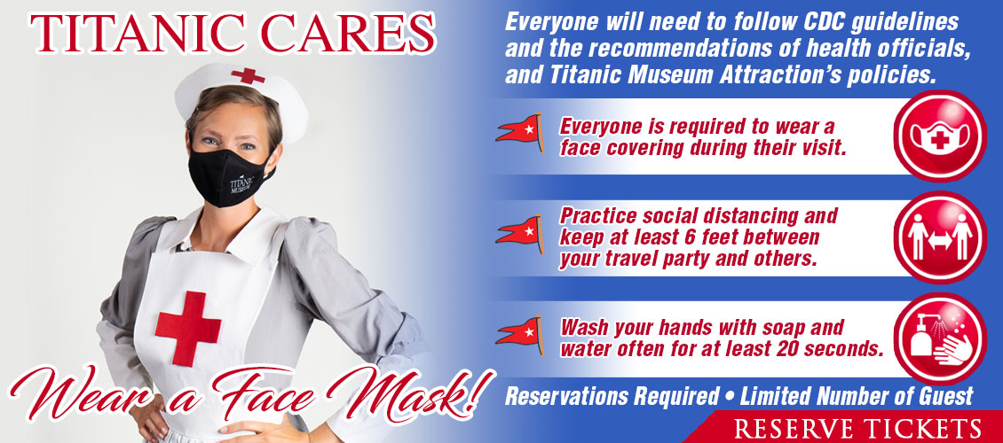 Titanic Cares. Wear a face mask!