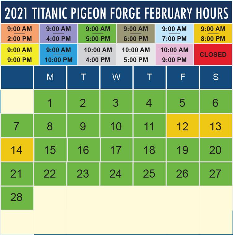 Titanic Pigeon Forge February 2021 hours